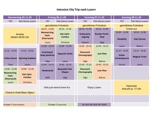Intensive City Trip - Stundenplan