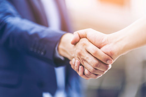 Concept of Negotiating business and hand