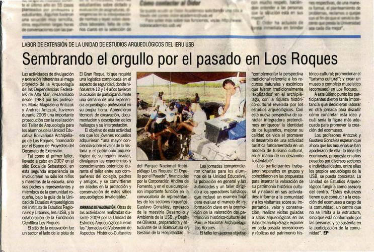 El Papel de la Bolivar, Marzo 2010 Sembrando el Orgullo por el Pasado de Los Roques