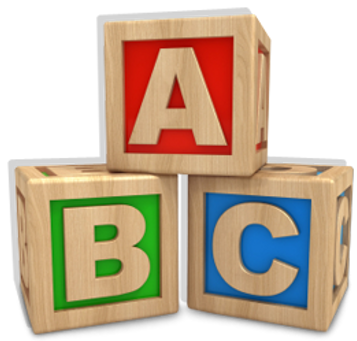 Three alphabet blocks together.