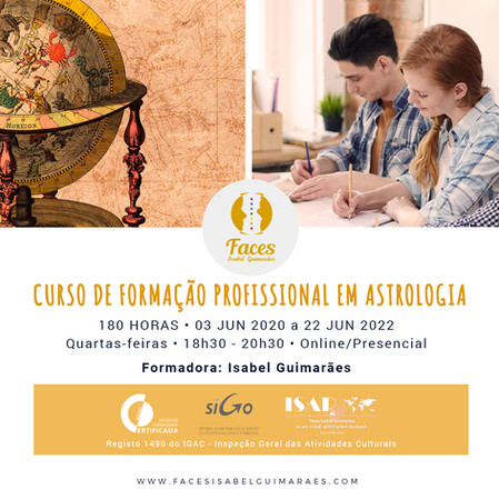 10ª edição do Curso de Formação Profissional em Astrologia - 180 horas - Presencial e OnLine de 3/06
