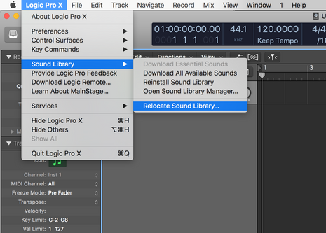 Logic Pro 10.4.2 新增 - 音源移至外接硬碟