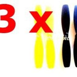 Lot de 3 x 4 hélices jaunes et noires mini drone jxd388