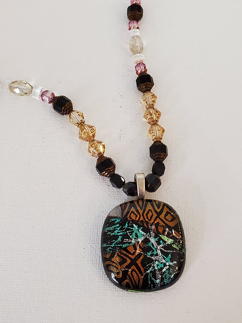 Dichroic Glass Pendant, hand beaded