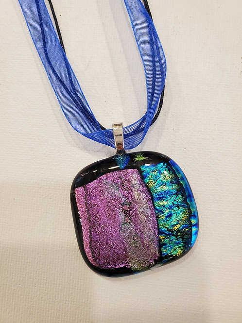 Dichroic Glass Pendant, with chord