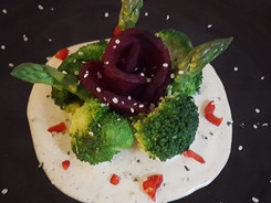Beauty Vegetables on Macadamia Cream Cheese