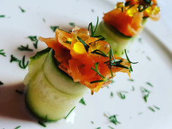 Cucumber Rolls with Vegan Cream Cheese, Carrot Salmon and Olive Oil Caviar