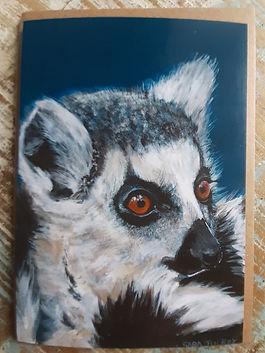Ring tailed lemur greetings card