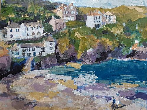 Port Isaac Beach. Original Acrylic painting by Sara Tuckey