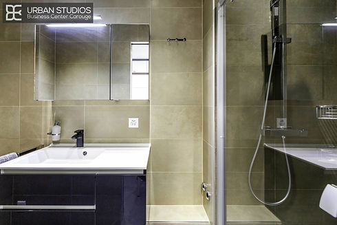 Design shower room with black lacquered furniture and black Geberit Monolith tank