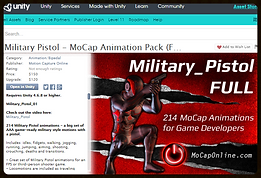 PISTOL MOCAP PACK: - UNITY3D - Chracter Animation for Game Development