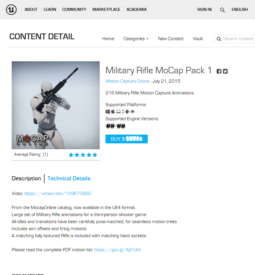 Military Rifle: MoCap Animation Pack - 3D Character Animations