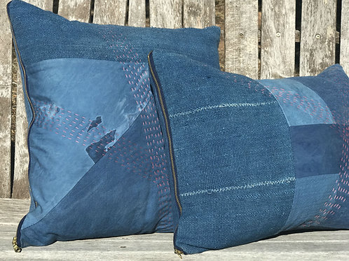 Indigo and Pink Pillow with Exposed Brass Zipper