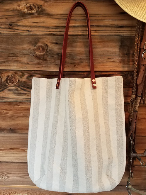 Linen Stripes Rivet Tote