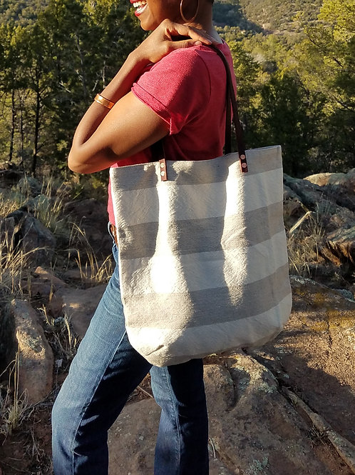 Original Rivet Tote - Wide Stripes