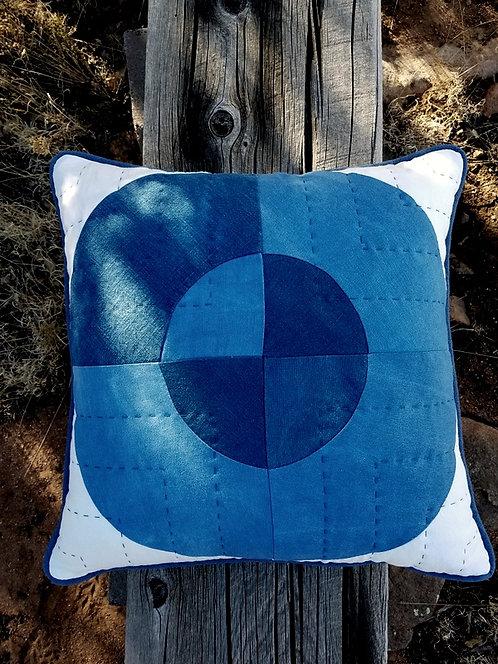 Hand-dyed Graphic Pillow - Indigo