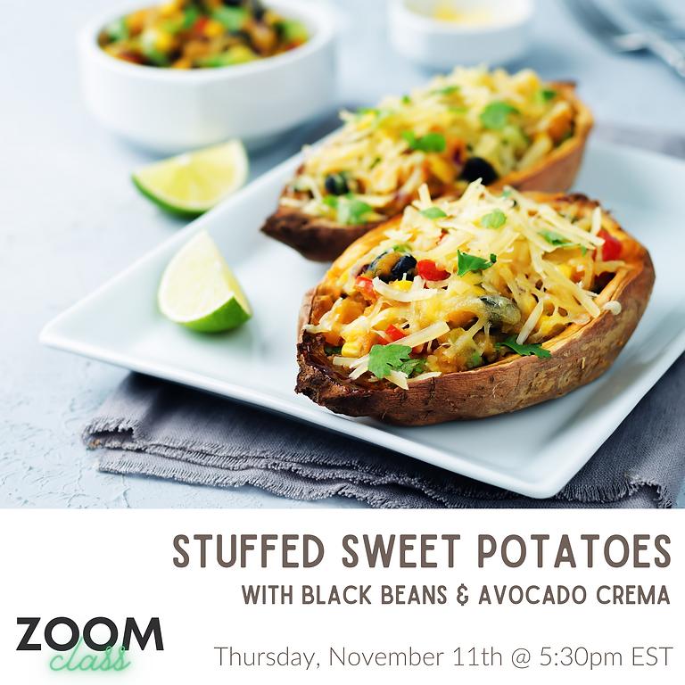 Black Bean Stuffed Sweet Potatoes ~ Cooking Class