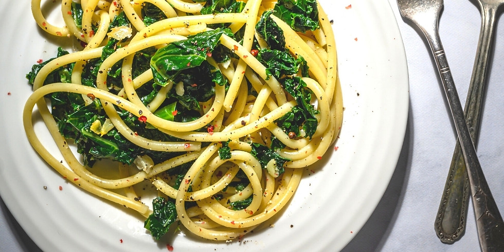Super Greens Pasta & Lemony Massaged Kale Salad ~ Cooking Class
