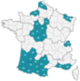 Zones d'intervenion de Pierre Del Sol en France