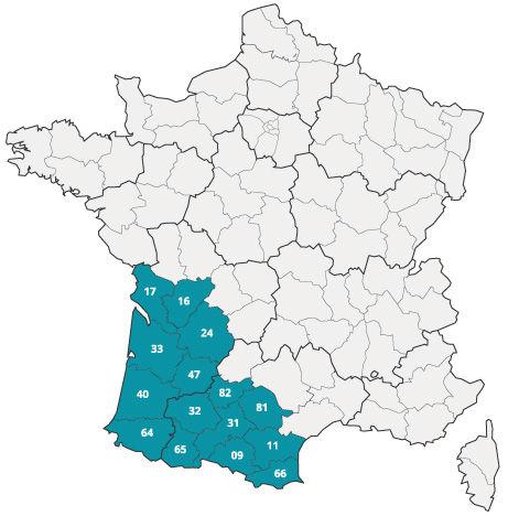 Zones d'intervention de Pierre Del Sol