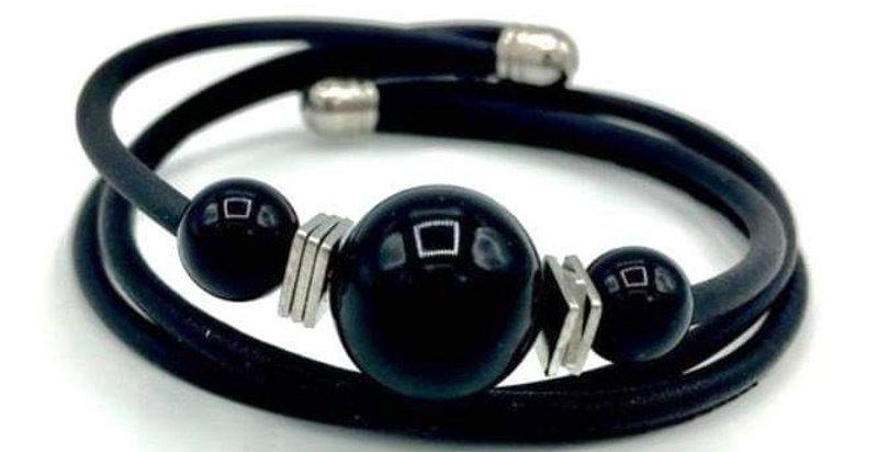 Bracelet cuir et caoutchouc (semi précieuse)