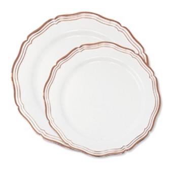 FOREVER ROSE: Assiette à dîner et à dessert blanche et rose gold 9'' et 7''