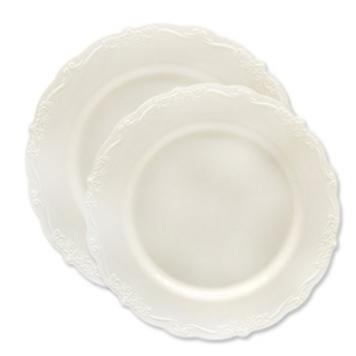 Oh ! So Chic: Set d'assiette antique blanc crème à dîner  9'' et  7''