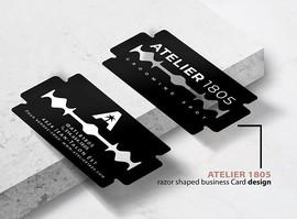 Razor blade shaped business card designs