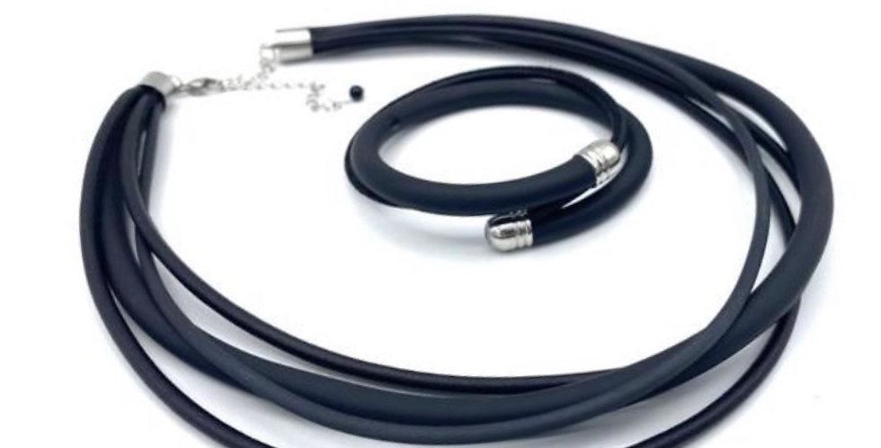 DUO collier noir et bracelet