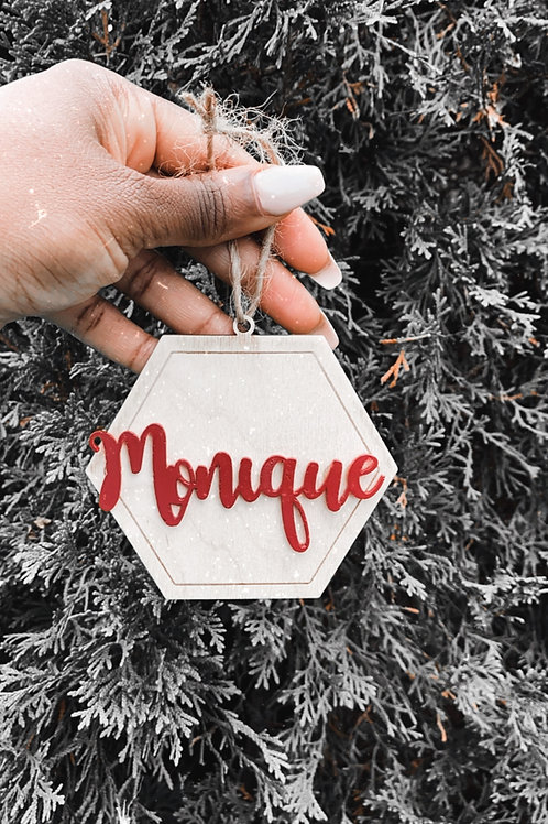 3D wooden colored name-Ornament