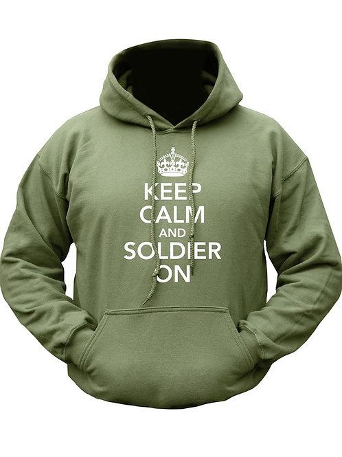 Kombat UK Keep Calm & Soldier On HOODIE - Olive Green