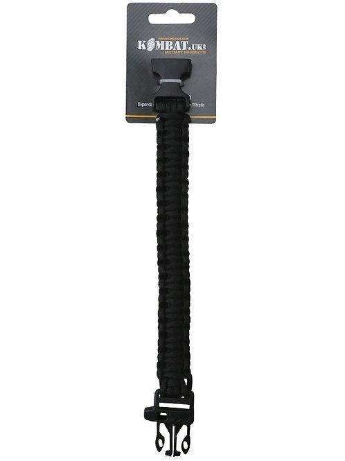 Kombat UK Survival Wristband and Whistle - Black