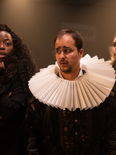 Layo-Christina Akinlude, Stefan Menaul, and Meaghan Martin in The Actor's Nightmare. Photo by Ali Wright.