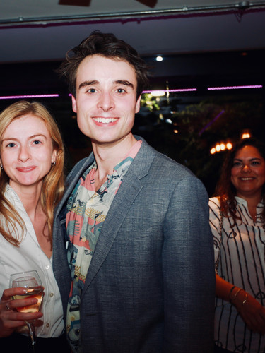 Oli Higginson with agent Georgie Davies (Conway van Gelder Grant) on Press Night of The Actor's Nightmare. Photo by Emy Davis.