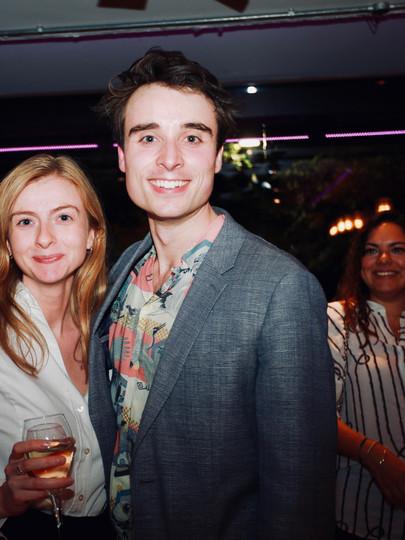 Oli Higginson with agent Georgie Davies (Conway van Gelder Grant) on Press Night of The Actor's Nightmare. Photo by Emy Davis.