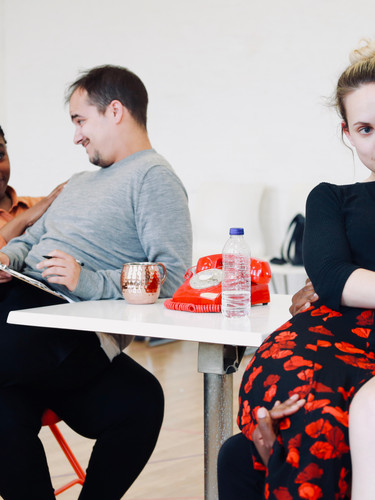 The company in rehearsals for The Actor's Nightmare. Photo by Emy Davis.