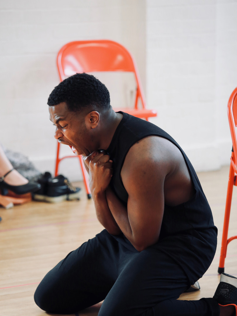 Adrian Richards in rehearsals for The Actor's Nightmare. Photo by Emy Davis.