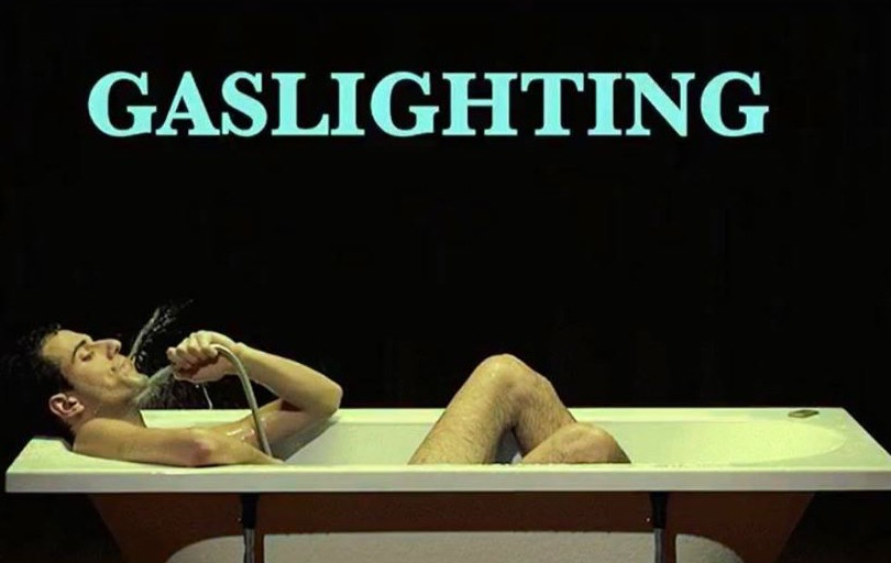 Promotional image for Gaslighting: A Bath Piece at Yard Theatre. Photo and artwork by Uri Levy.