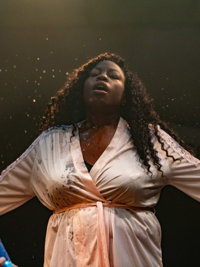 Layo-Christina Akinlude in The Actor's Nightmare at Park Theatre. Photo by Ali Wright.