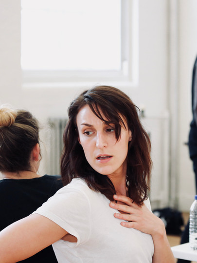 Kate Sumpter in rehearsals for The Actor's Nightmare. Photo by Emy Davis.