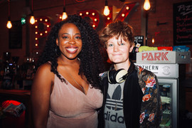 Layo-Christina Akinlude with Writer Charlie Covell