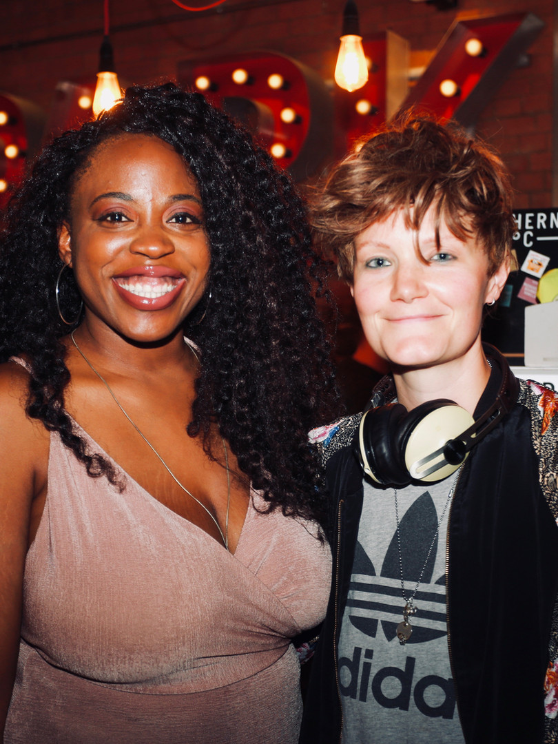 Layo-Christina Akinlude with writer Charlie Covell (The End of the Fucking World) at press night for The Actor's Nightmare. Photo by Emy Davis.