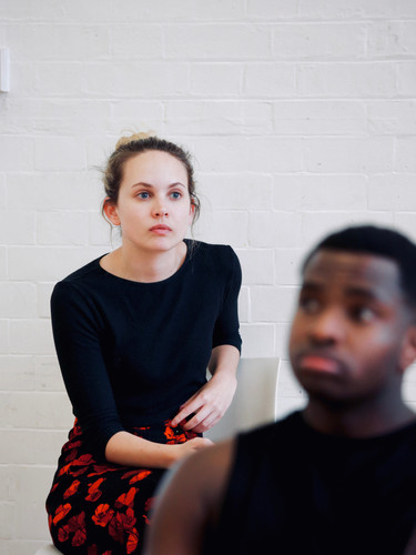 Meaghan Martin and Adrian Richards in rehearsals for The Actor's Nightmare. Photo by Emy Davis.