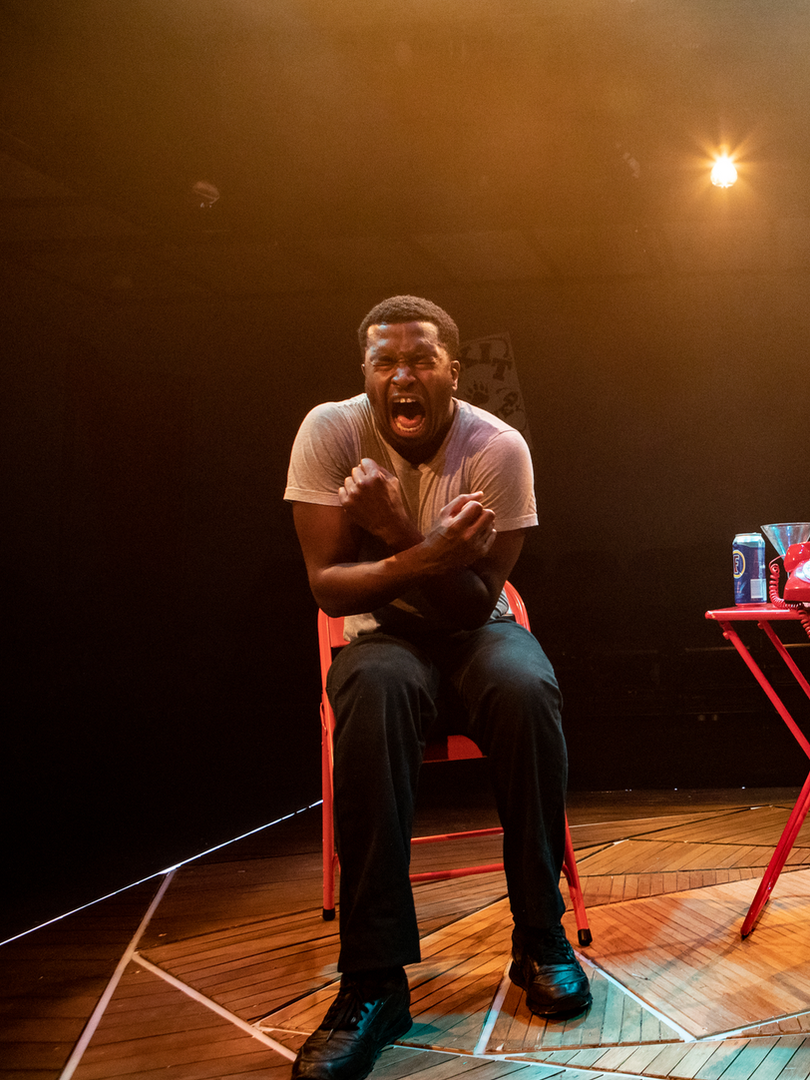 Adrian Richards and Layo-Christina Akinlude in The Actor's Nightmare. Photo by Ali Wright.