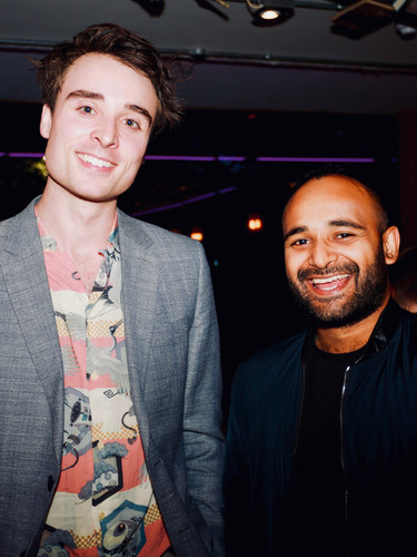 Oli Higginson and writer Titas Halder at press night of The Actor's Nightmare. Photo by Emy Davis.