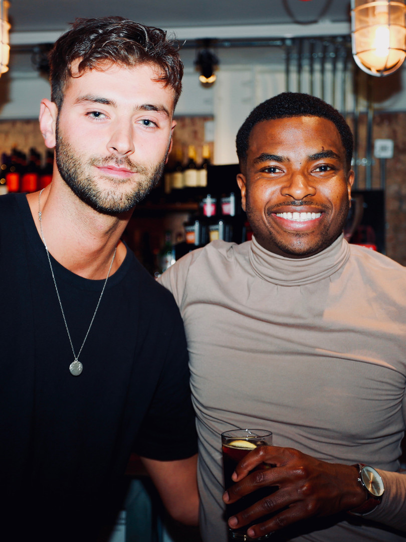 Adrian Richards with actor Joseph Bader at press night for The Actor's Nightmare. Photo by Emy Davis.