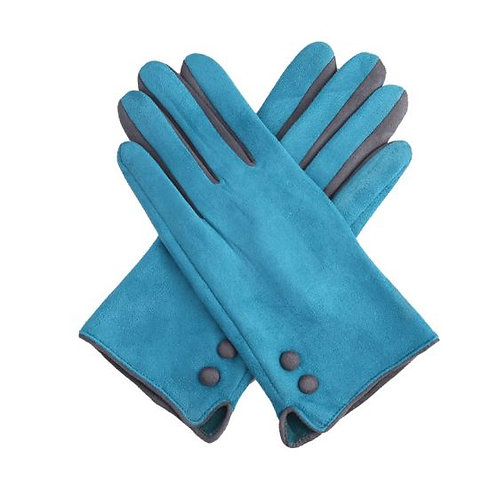 Teal Button Gloves