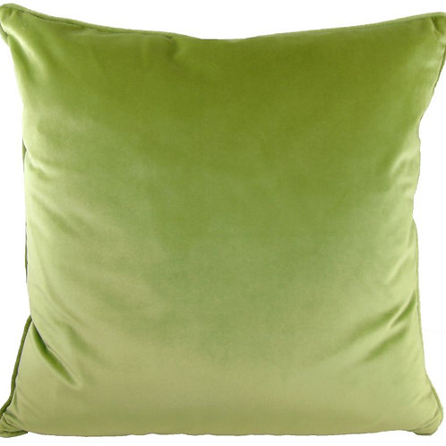 Green Piped Velvet Cushion (Feather Filled)