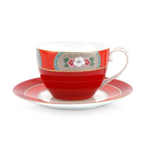 Pip Studio Red Blushing Birds Cup & Saucer 280ml