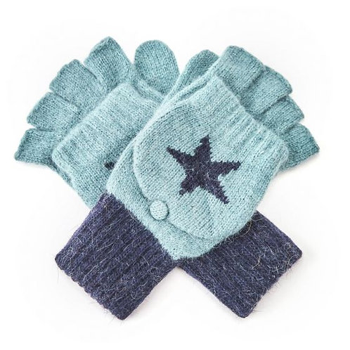 Duck Egg and Navy Blue Star Mittens